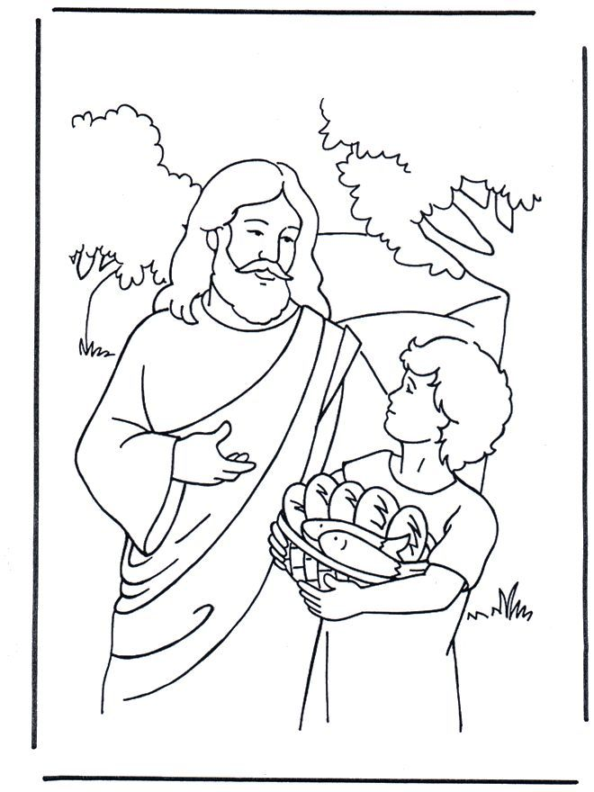 Jesus Feeds 5000 Coloring Page | test | Pinterest | Sunday school ...
