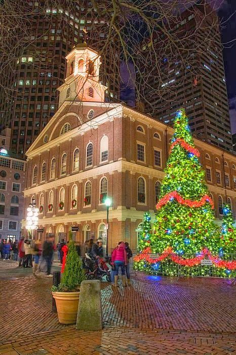 Christmas - Faneuil Hall - Boston Massachusetts USA & Faneuil Hall Night Canvas Print / Canvas Art by Joann Vitali ...