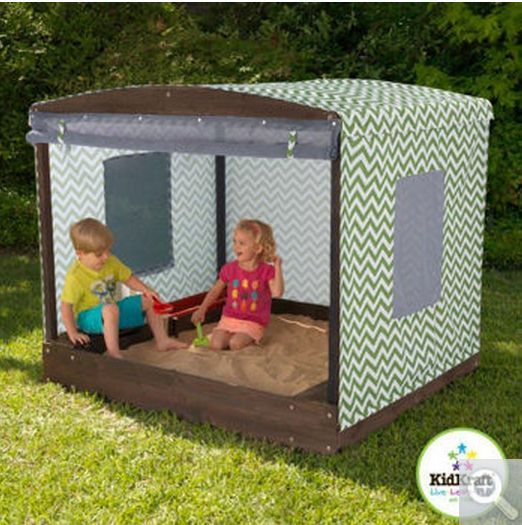 Backyard Toddler Sandbox Cabana Kids Playhouse Kids Outdoor Toys Sun Canopy  NEW #kidkraft
