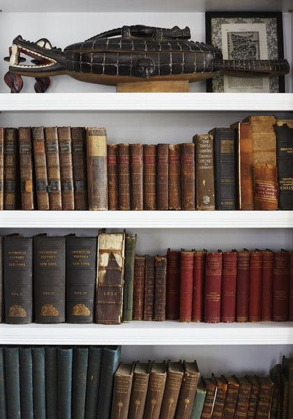 Rustic Traditional Bookshelf Detail Of A Filled With Antique Books