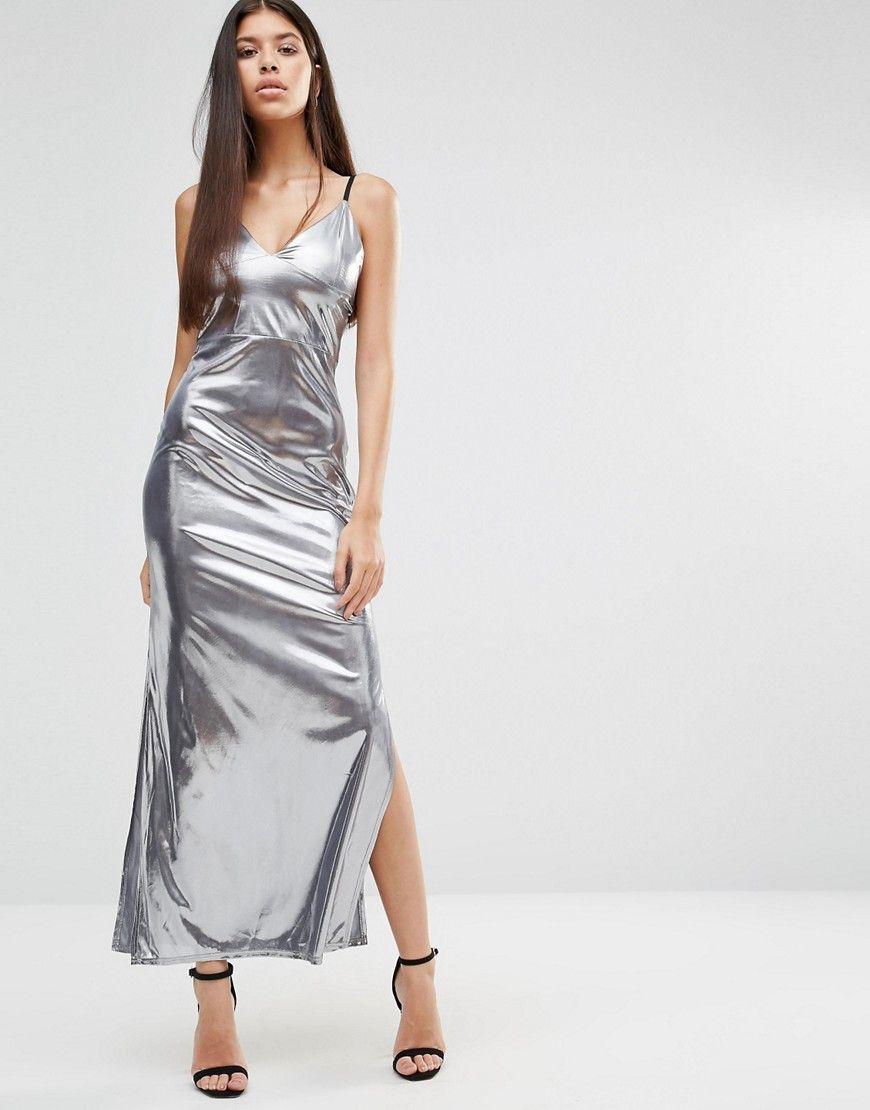 a61c492cf639 Boohoo Metallic Side Split Maxi Dress | Satin in 2019 | Dresses ...