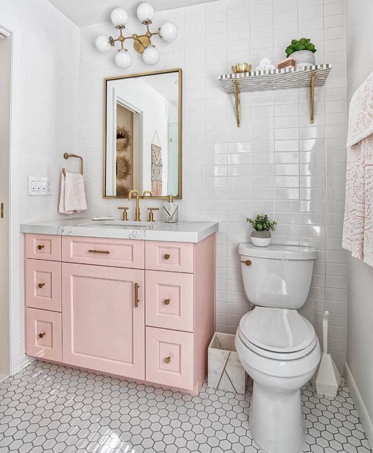 "Interior design + decor ideas on Instagram: ""pink vanity + gold accents, such a…"