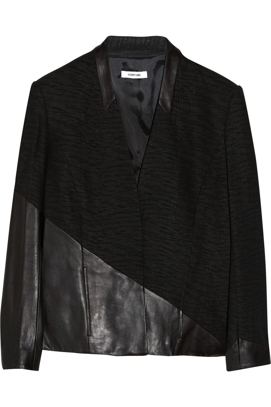 Helmut Lang Asymmetric Leather Trimmed Jacquard Jacket Jackets Discount Designer Clothes Helmut Lang