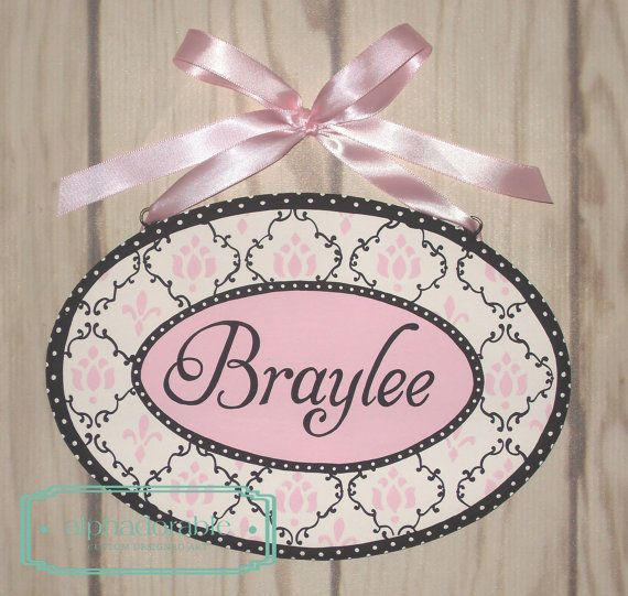 Lambs And Ivy Ss Pink Black Custom Name Plate By Alphadorable 40 00