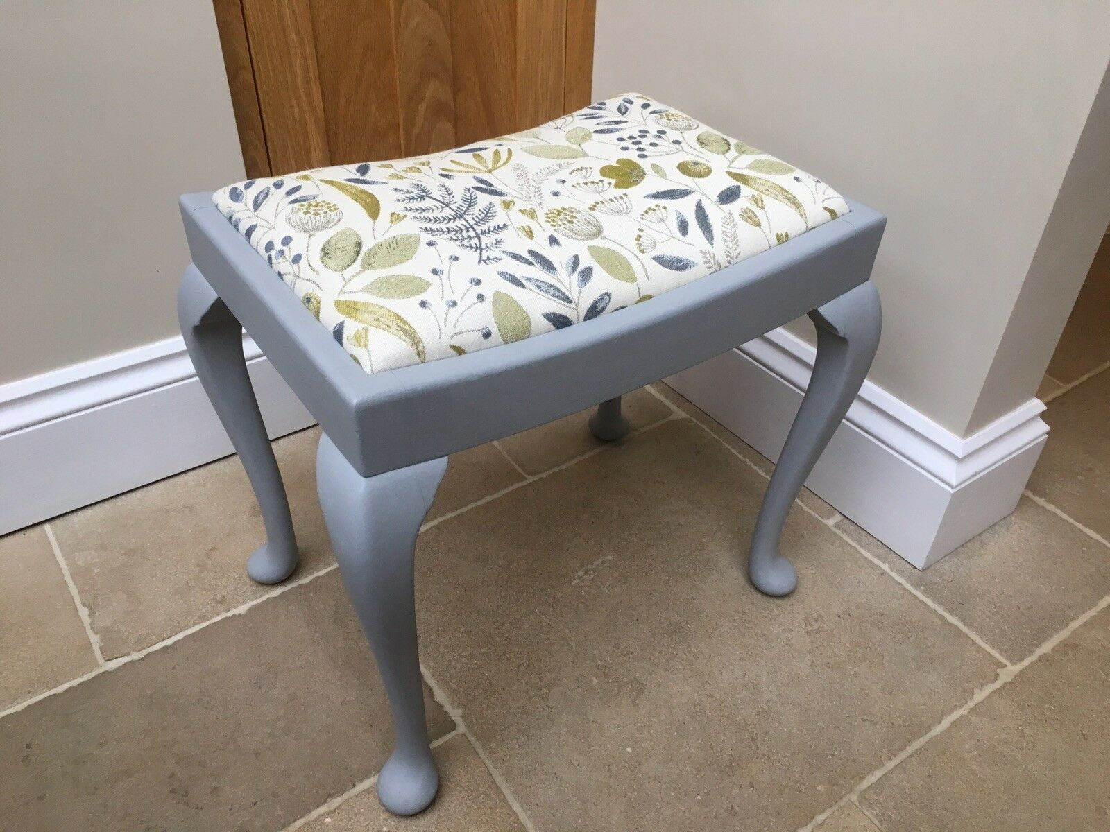 Vintage Dressing Table Stool With Queen Anne Legs In French Grey