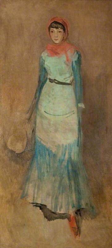 """""""Harmony in Coral and Blue: Miss Finch"""" (c.1885) 