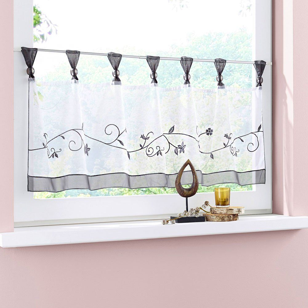 Cute window curtains - Uphome 1pcs Cute Embroidered Floral Window Tier Curtain Kitchen Tab Top Semi Sheer Curtain Grey