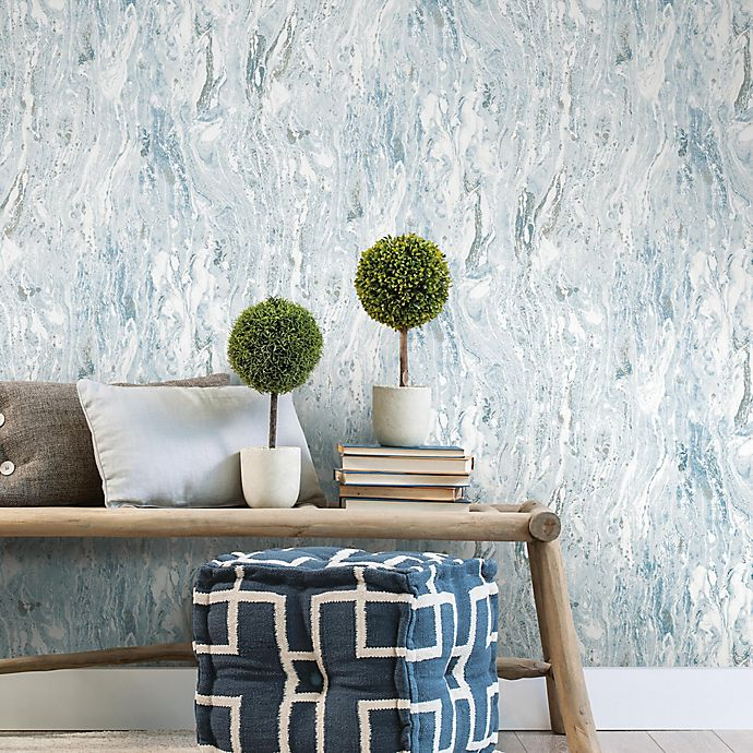 Roommates Marble Seas Peel Stick Wallpaper In Blue Bed Bath Beyond Peel And Stick Wallpaper Nursery Room Decor Blue Bedding