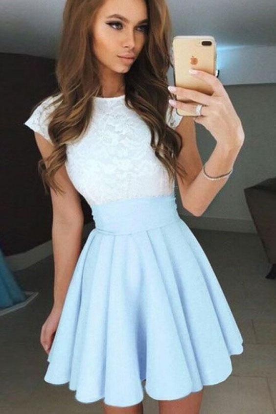 Pale Blue A Line Cap Sleeves Short Chiffon Homecoming Dress