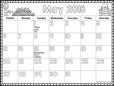 2017 2018 Monthly Calendar For Kids Classroom Freebies