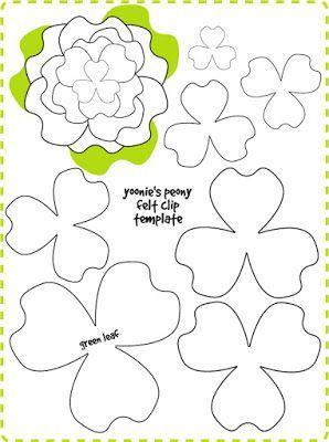 | yoonie-at-home |: Peony Flower Felt Clip Tutorial + Template #fabric crafts flowers #feltflowertemplate