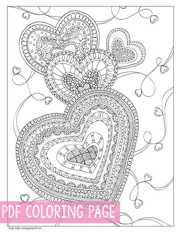Zen Hearts Coloring Page For Adults Pdf Download Heart Coloring Pages Coloring Pages Love Coloring Pages