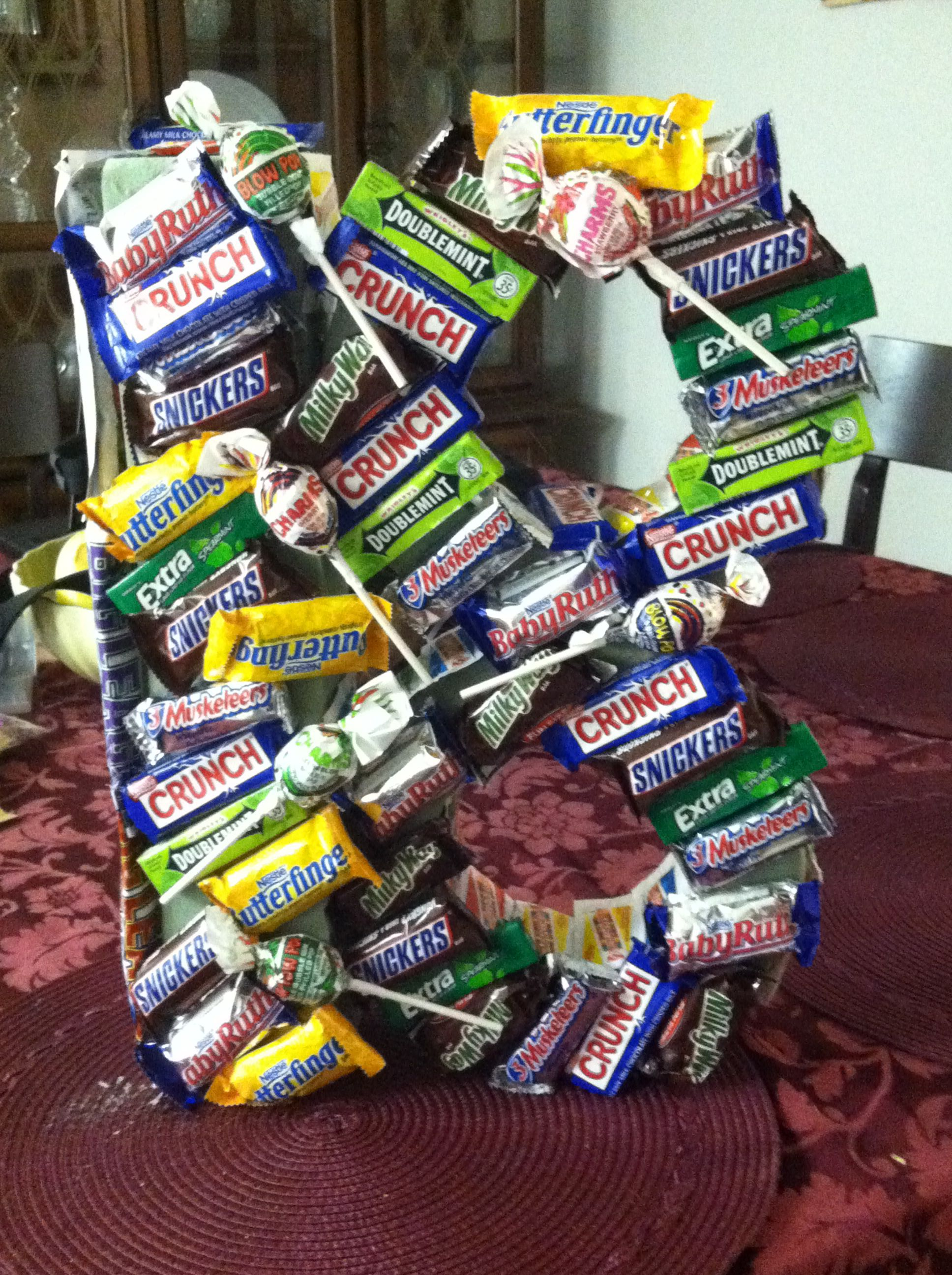 18th Birthday Personalized Gift!  Favorite Candy attached to an 18 styrofoam.