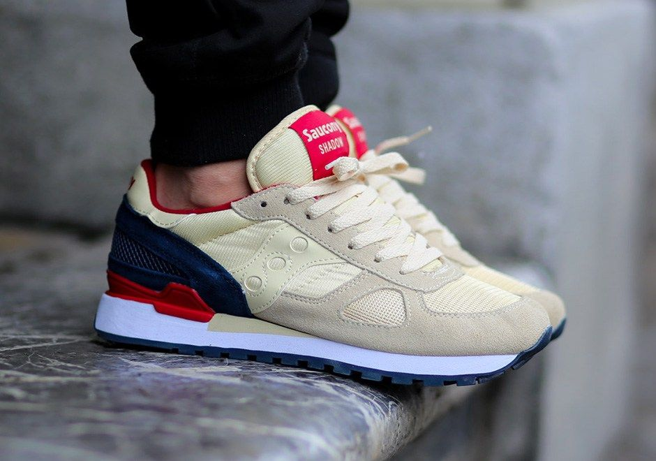 The Saucony Shadow Original Cream-Navy-Red available now.