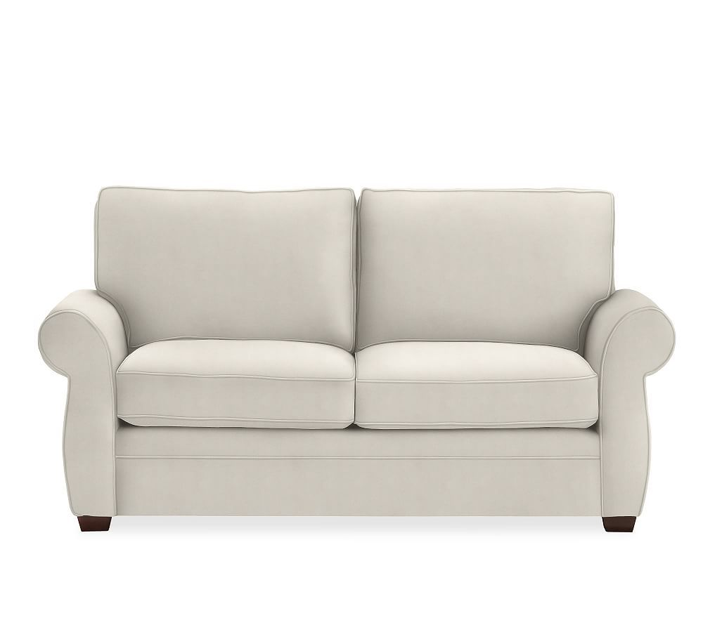 Pearce Upholstered Loveseat 73 Down Blend Wrapped Cushions Sunbrella R Performance Sahara Weave Mushroom At Pottery Barn Upholstered Sofa Sofa Pottery Barn Sofa