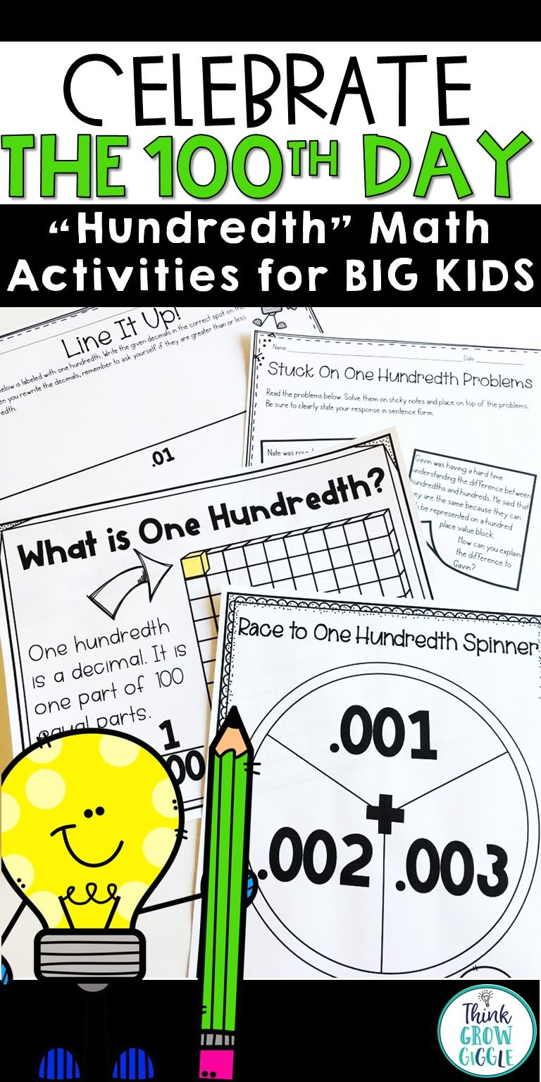 100th Day of School Activities Big Kids | Math activities, Maths and ...