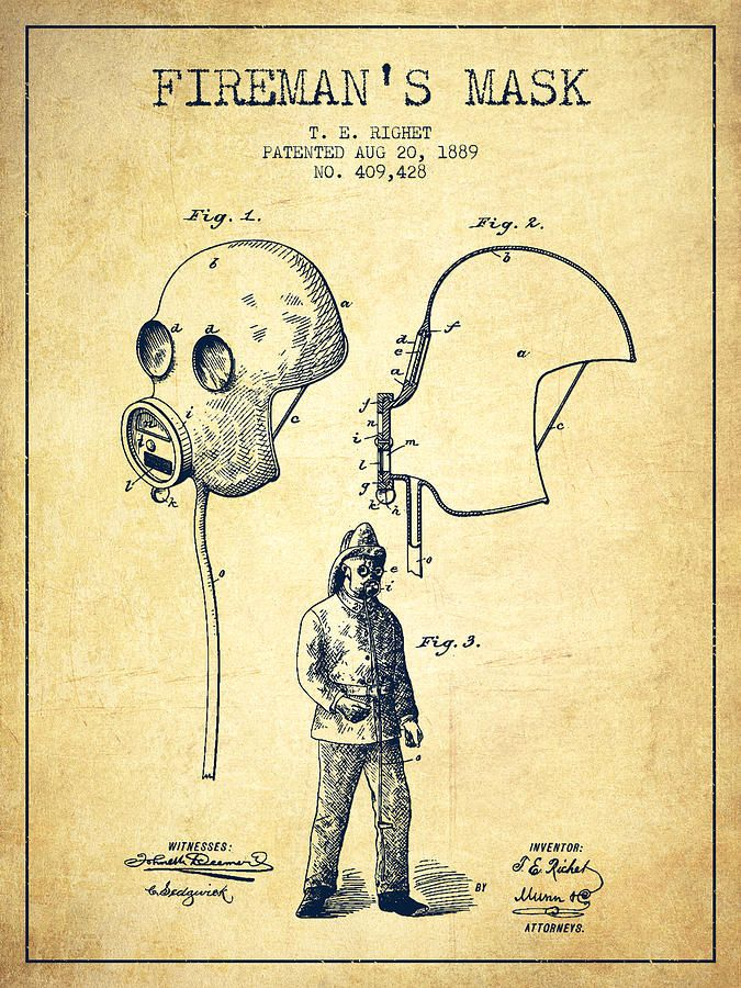 Firemans Mask Patent From 1889 Vintage By Aged Pixel