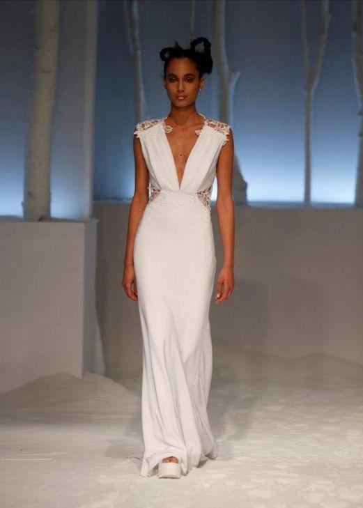 David Fielden 8558 Long Satin Dress With Organza White Flowers Decoration