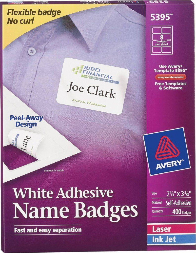 Avery Labels Name Badge Template Avery White Adhesive Name Badge Labels 5395 Name Badge Template Badge Template Label Templates Avery name badge template 5395