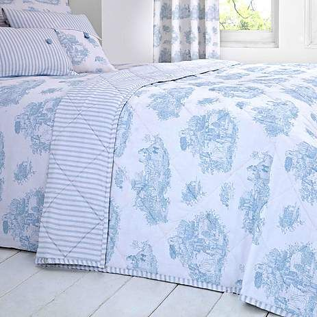 Blue Toile de Jouy Bed Linen Collection   Dunelm