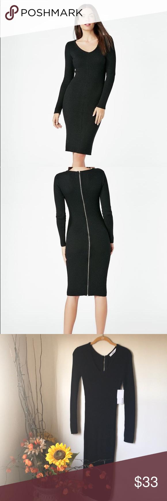 Black long sleeve bodycon zipper dress nwt black bodycon dress