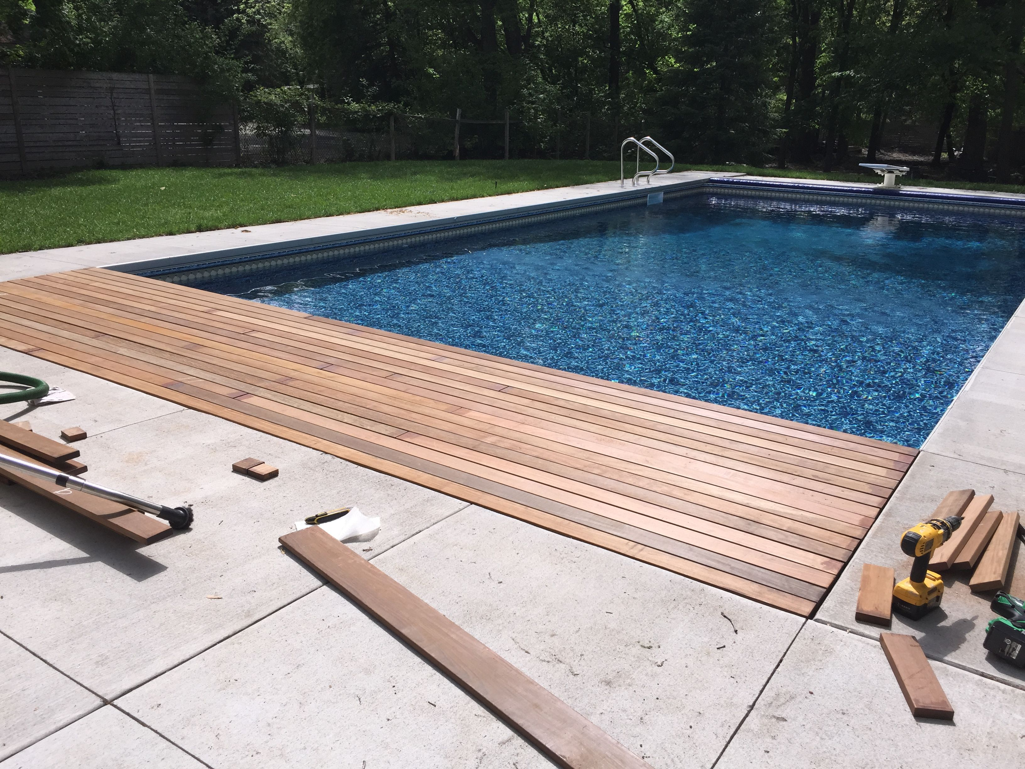 Pin By Dustin Cutler On New Pool Design And Project Concrete Pool Wood Pool Deck Travertine Pool Decking