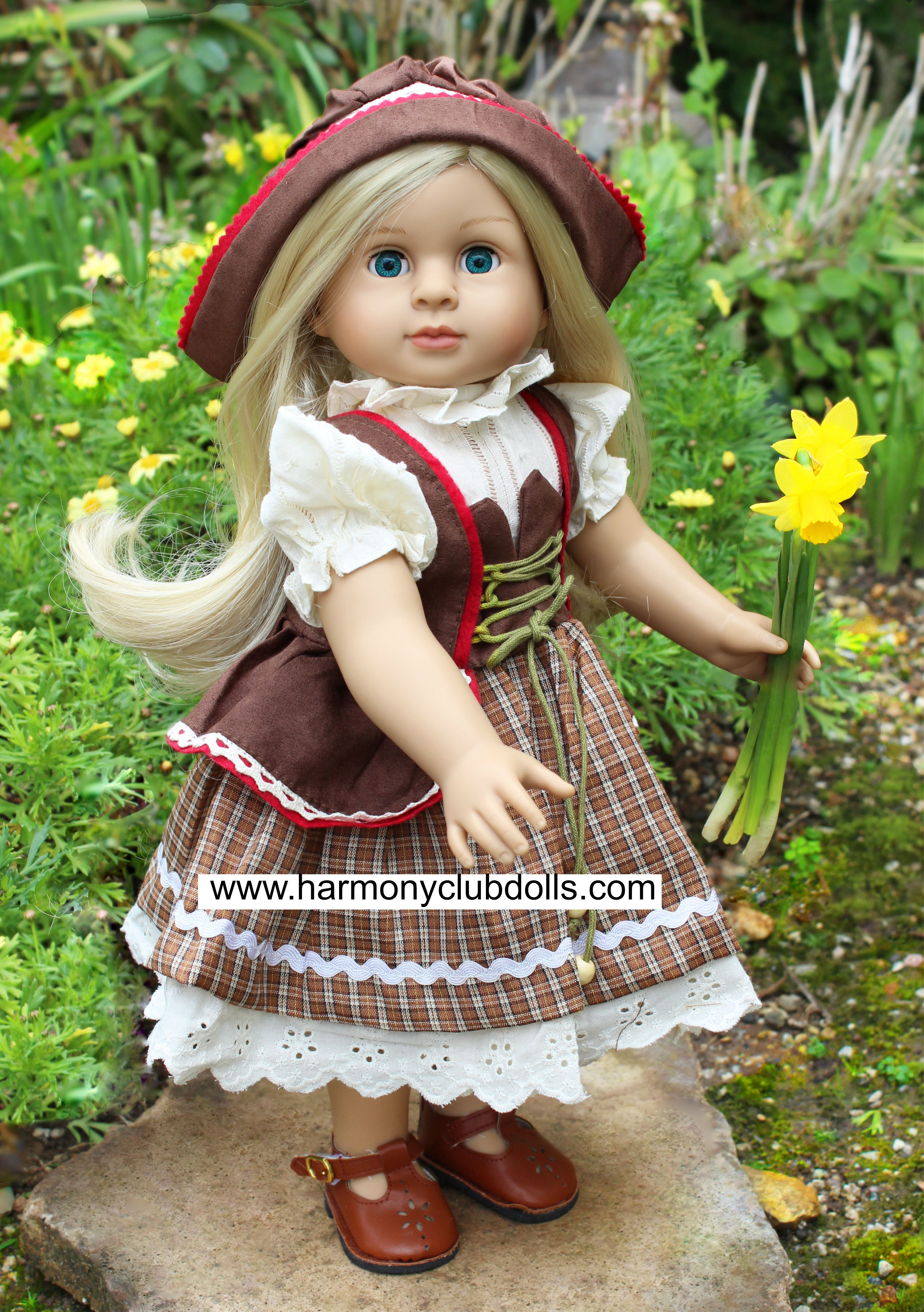 Fits American Girl Doll German Doll Dress with hat from Harmony Club