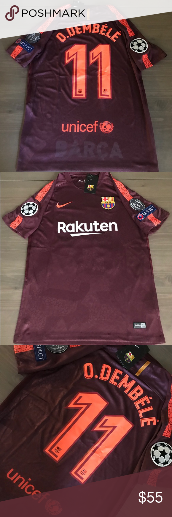 aff487ddcff Barcelona O. Dembélé #11 burgundy soccer Jersey Barcelona O. Dembélé #11  away burgundy 17/18 soccer jersey champions league men Size: Medium Nike  Shirts ...