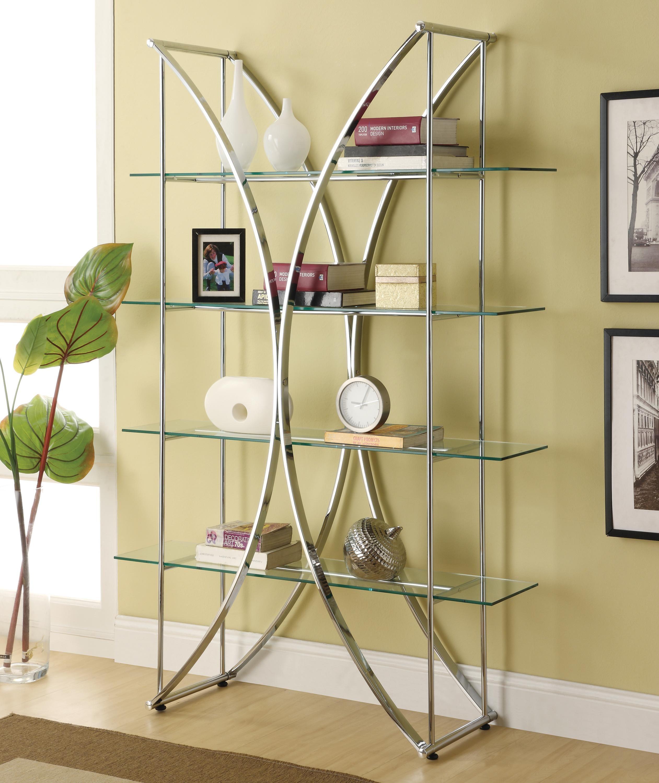 Bookcases X-Motif Chrome Finish Bookshelf with Floating Style Glass ...