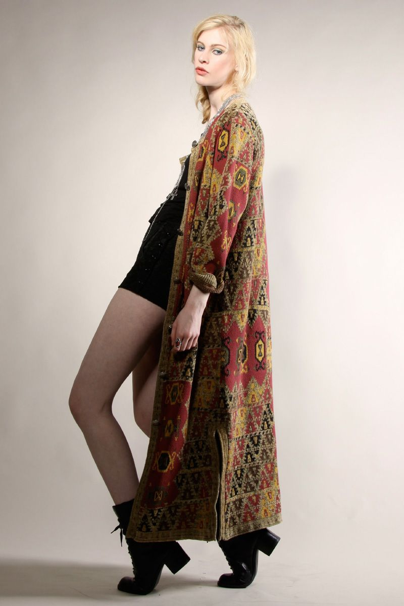 VINTAGE ETHNIC KNIT CARDIGAN Sweater Coat Duster Maxi Long ...