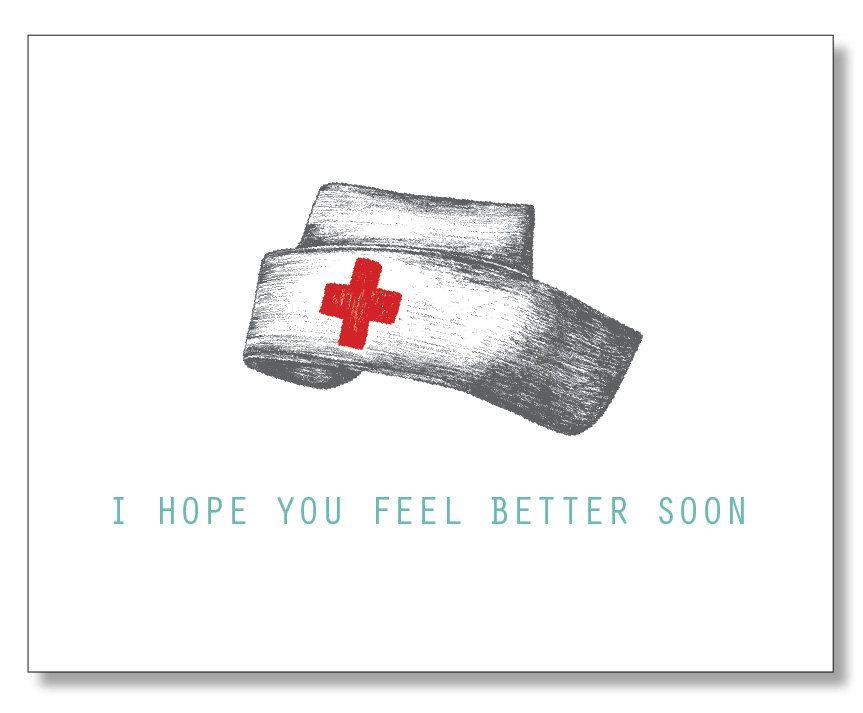 I Hope You Feel Better Soon. Get Well Soon Card. Nurse Hat. Vintage ...