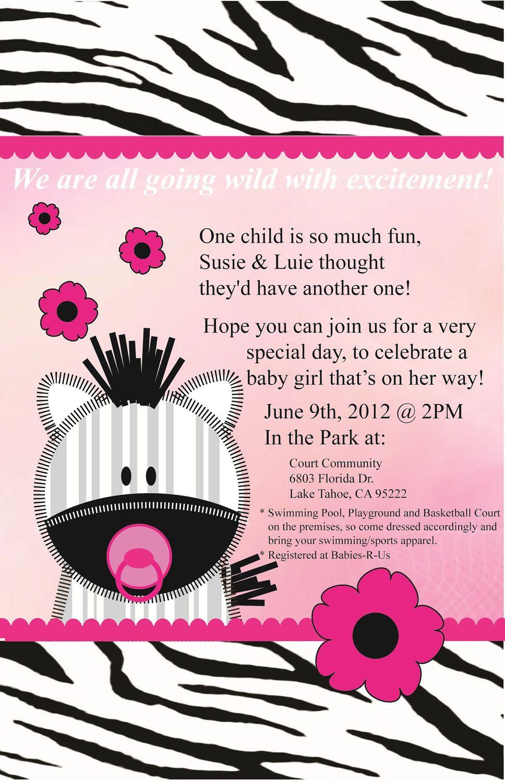 girl baby shower invitations | Hot Pink Baby Zebra Girl Baby Shower ...
