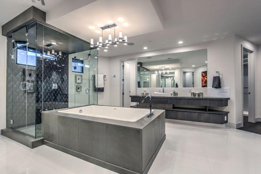 modern master bathroom. Contemporary Master Bathroom With Dark Tile Modern O
