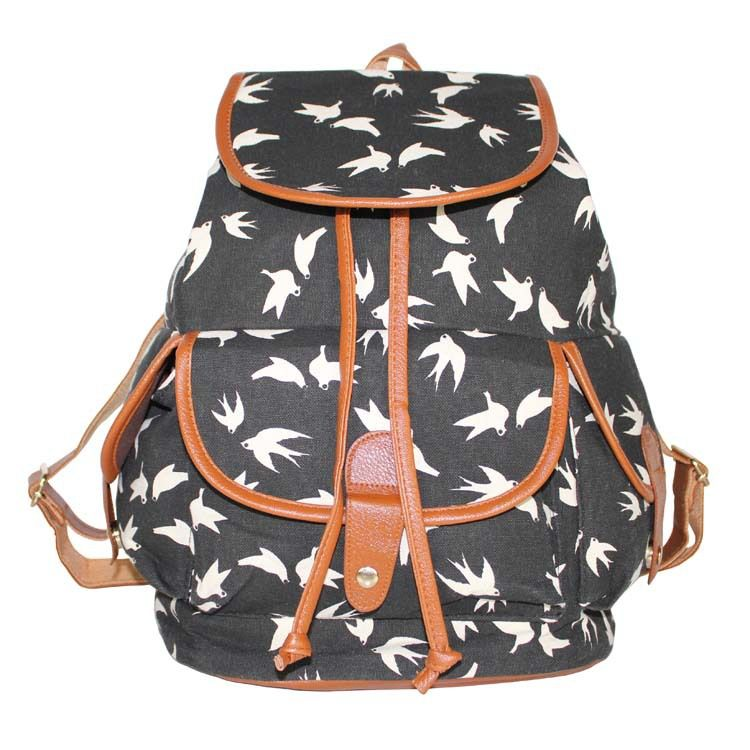 cda219322e20 Fashion Bird Swallows Printed Bags Women Canvas Backpacks Cover Drawstring School  Bags For Teenagers Girl Casual Travel Rucksack  Affiliate