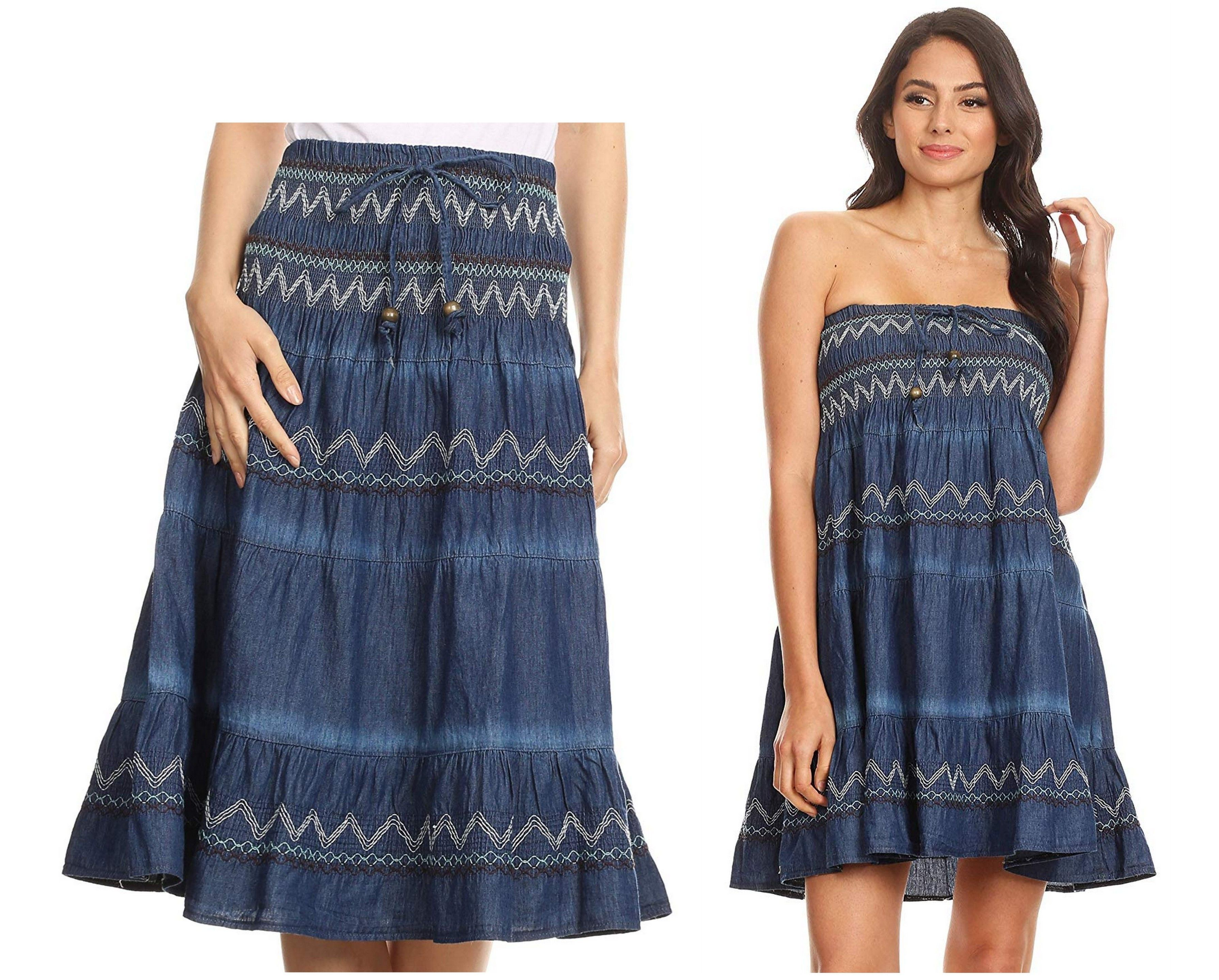 b24bad61bc This beautiful denim tube top strapless dress features lovely contrasting  embroidery and smock elastic upper.
