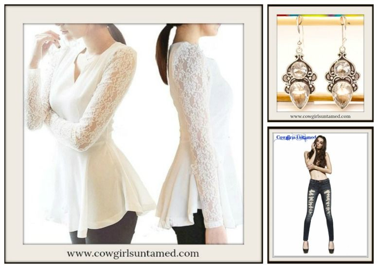 7407d359756847 COWGIRL STYLE TOP Off White Peplum Lace N Chiffon Long Sleeve V Neck Peplum  Western Top