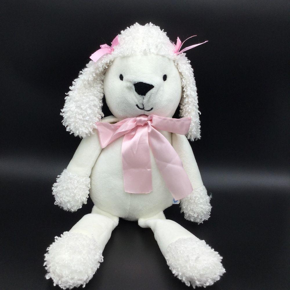 Cocalo white poodle dog puppy plush pink bows 18 stuffed