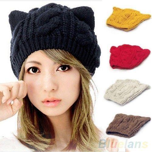 Czapka Zimowa Kot Kotek Piekna Ciepla Uszy Rozne K Knitted Hats Cute Hats Cat Ears Hat