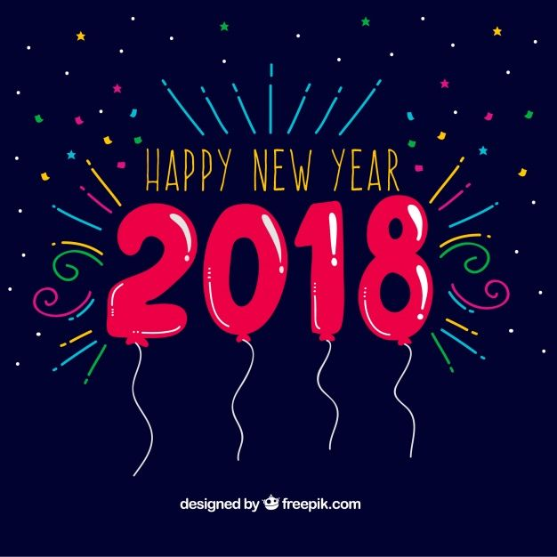 new year background with fun balloons free vector