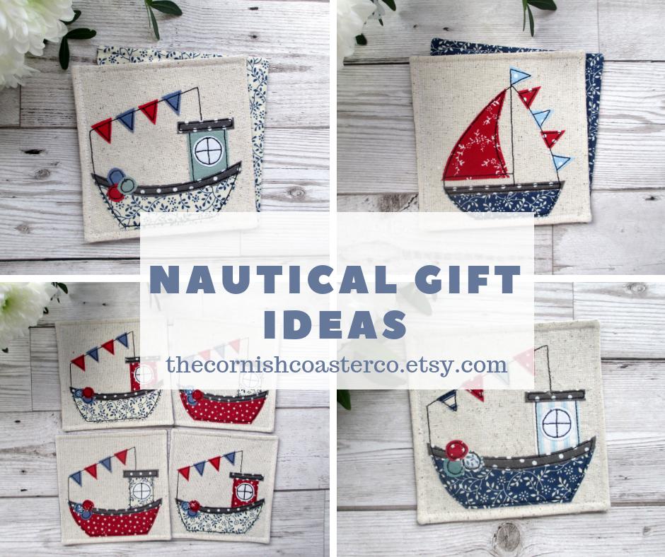 Fun And Quirky Gift Ideas For A Coastal Home Coasters Coastaldecor Nautical Handmade Fabric Coasters Nautical Gifts Quirky Gifts