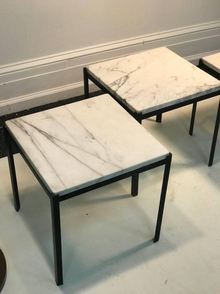 Nesting Tables Set Of Three Marble Tops Iron Base 1970s Interieur