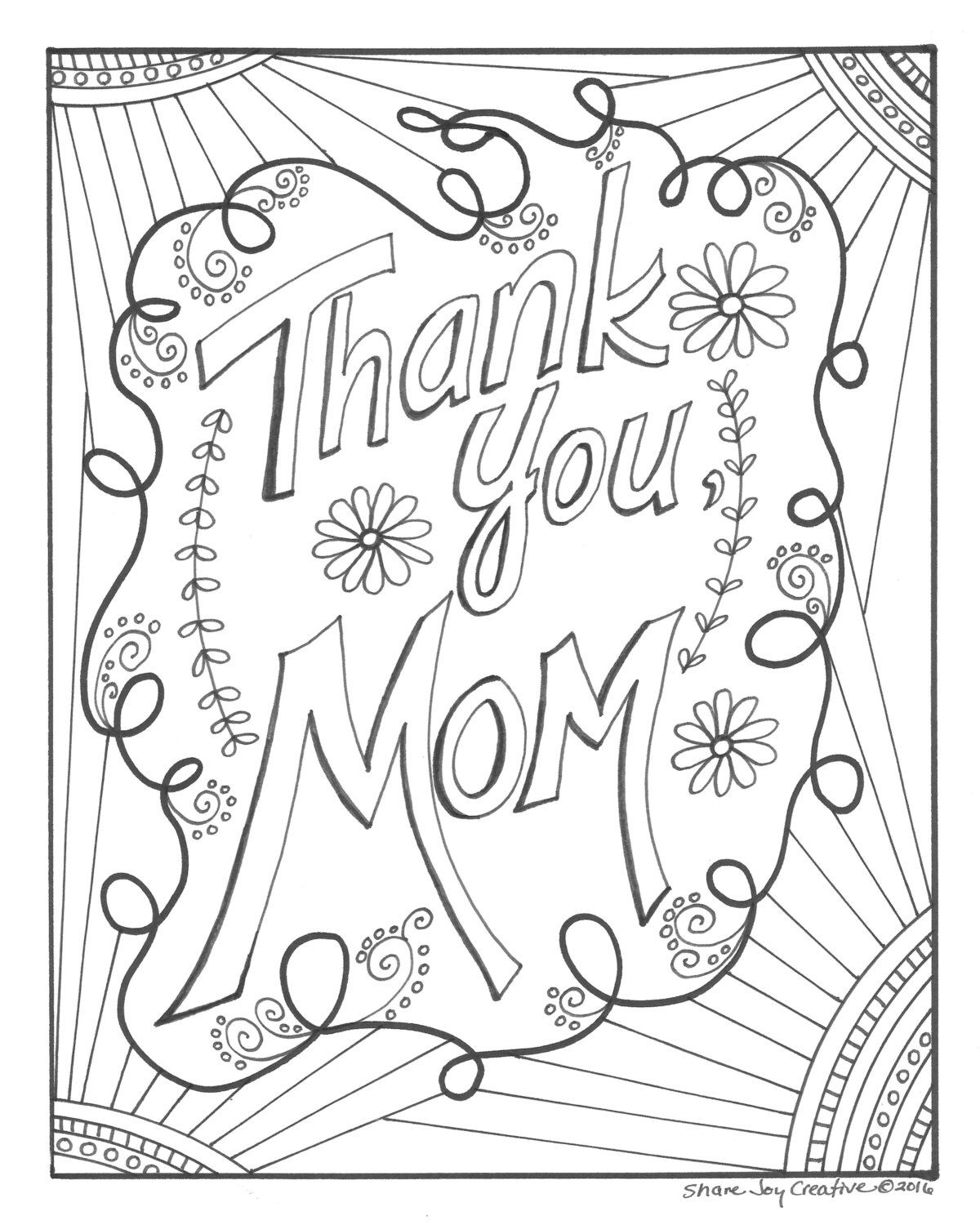 Thank You Mom Coloring Page Printable Coloring Page Etsy Mothers Day Coloring Pages Mom Coloring Pages Halloween Coloring Pages