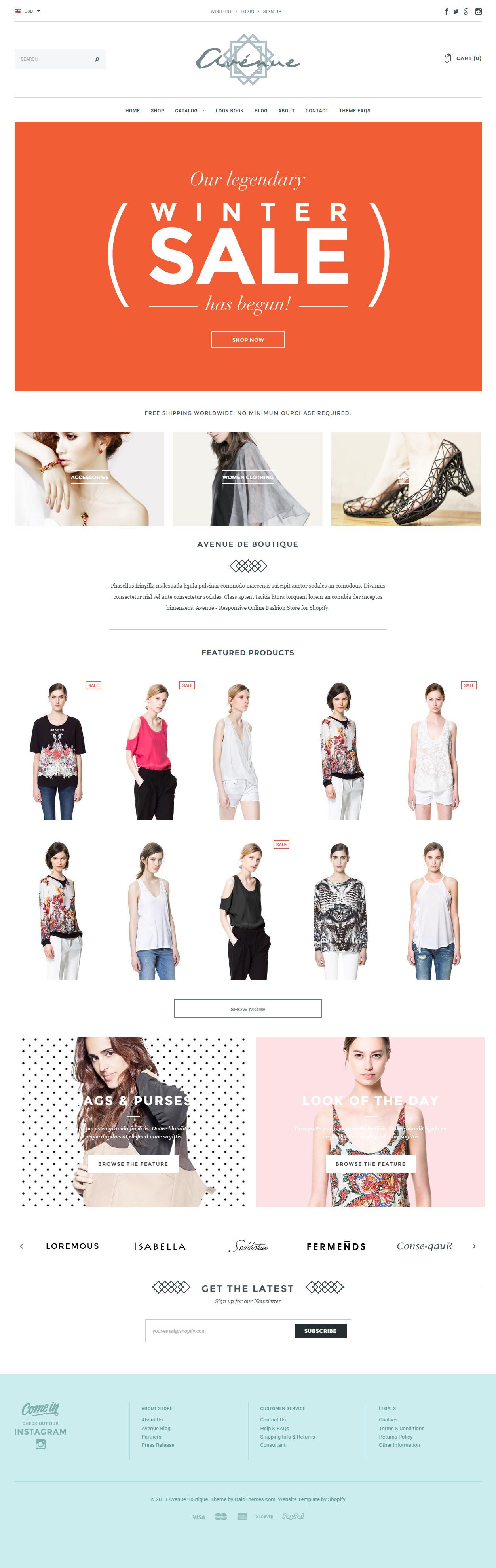 Avenue Premium Responsive Shopify Theme Pinterest ECommerce - Mailchimp ecommerce templates