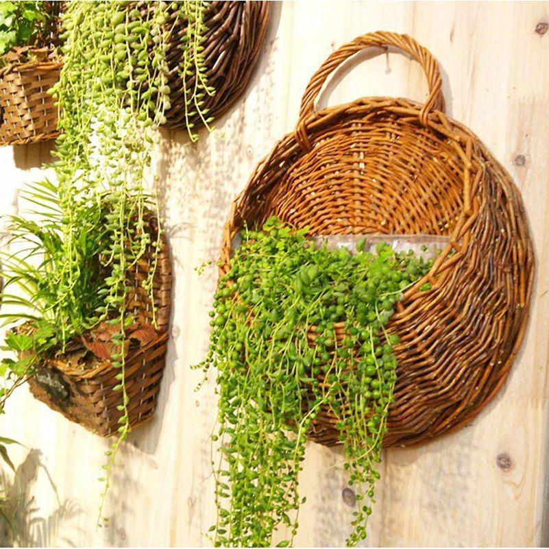 Gunstige Kunstliche Rattan Blume Lagerung Rack Korbe Decor Hangen Blumentopf Fur Garten Dekoration Neuheit Haushalt Gesc Hangepflanzen Hangeblumen Pflanzenwand