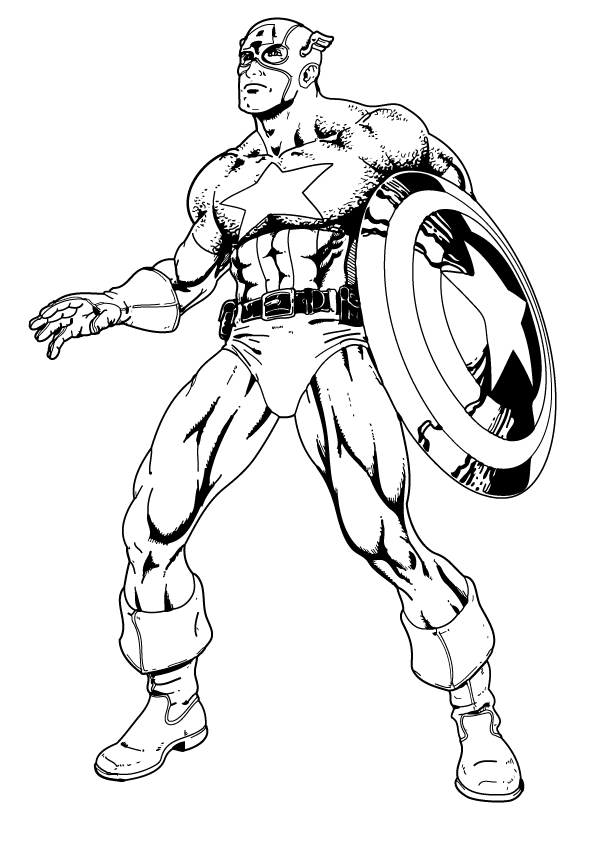 superhero captain america coloring pages for kids - Captain America Pictures To Color