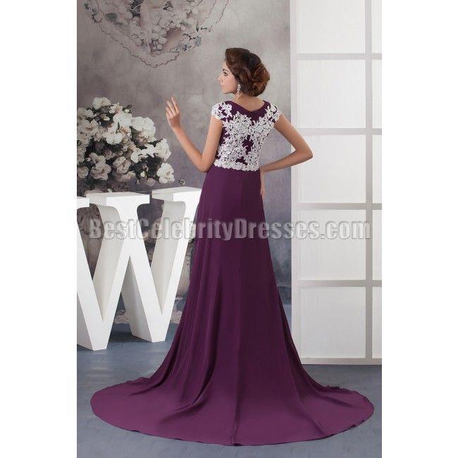 Sweep Train Grape Scoop Appliques Chiffon Evening Dress Wedding
