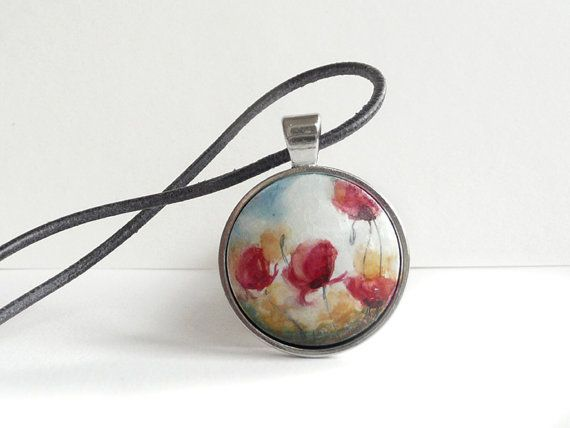 Wild Poppies Field Poppy Meadow Cute Flower Necklace by ARTDORA