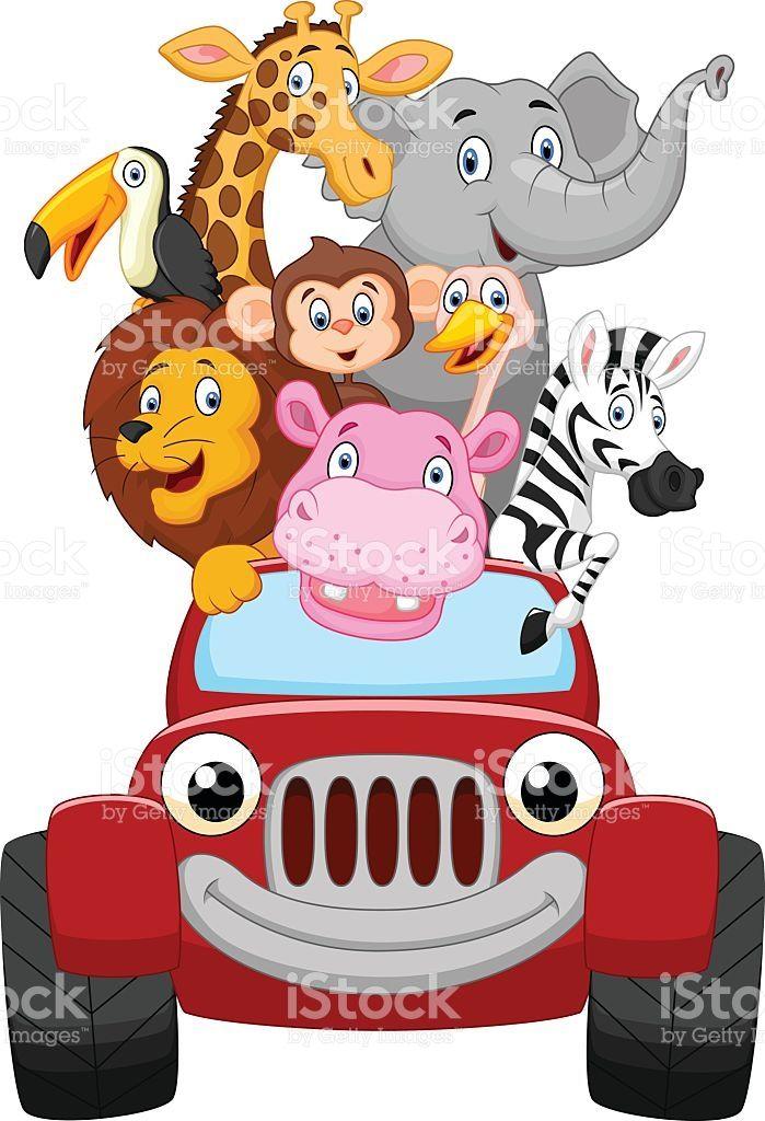 Adorable Animal Baby Big Car Cartoon Character Cheetahs Safari Baby Animals Happy Animals Safari Scrapbook
