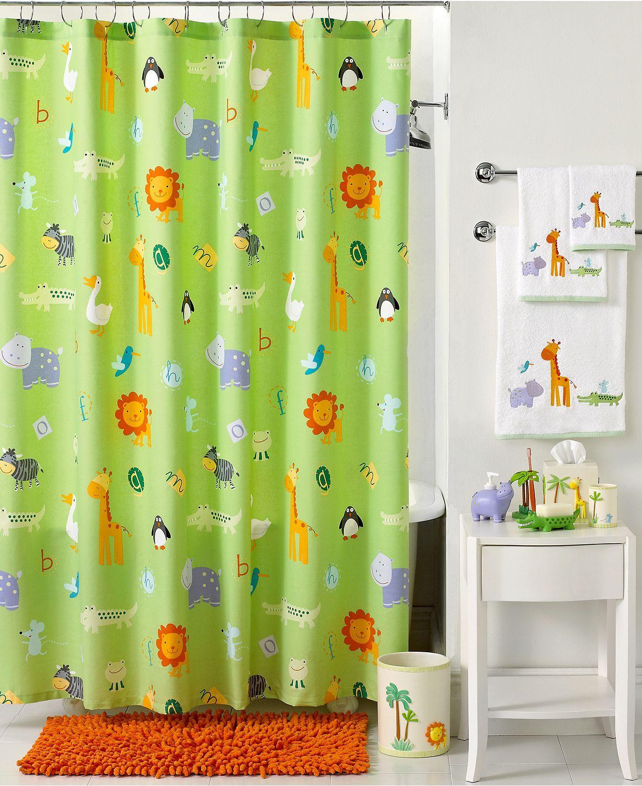 Kassatex Bath Accessories Zoo Friends Shower Curtain Shower Curtains Accessories Bed Bath Mac Bathroom Kids Kids Bath Bathroom Collections