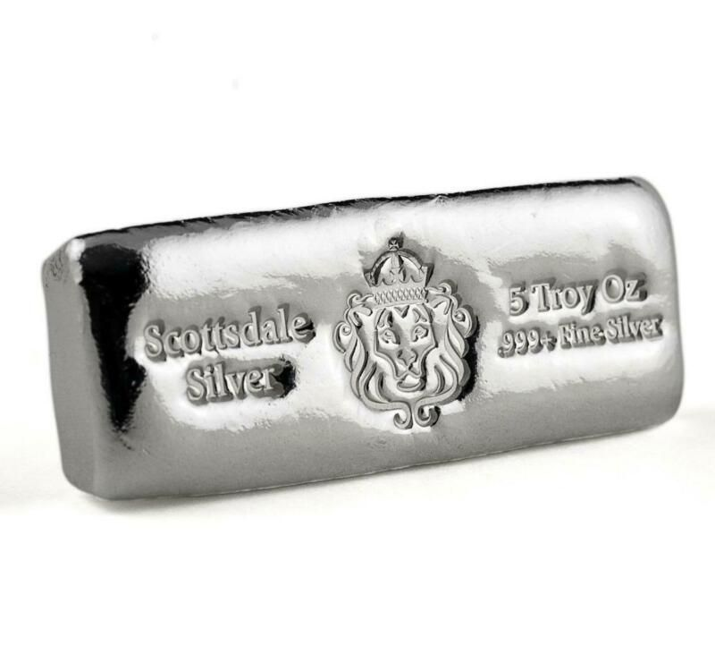 5 Oz Scottsdale Silver Cast Bullion Bar 999 Silver Bar A398 Buy Gold And Silver Silver Bars Silver Bullion